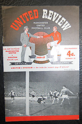 Manchester United V  Everton 1956/57 Fa Cup Official Programme