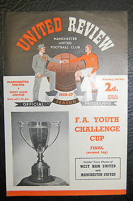 Manchester United V  West Ham United 1956/57 Fa Youth Cup Final