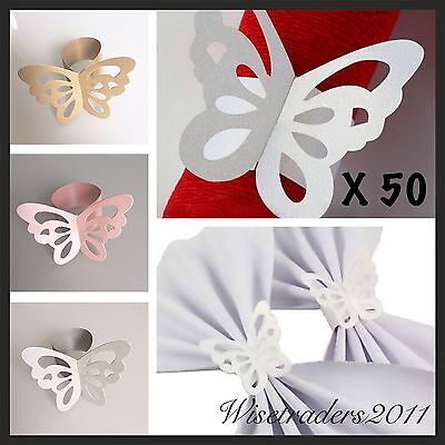 50 Butterfly Paper Wedding Party Napkin Rings Serviette Favour Table Decoration