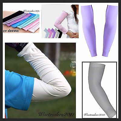 2 X Sun UV Cooling Arm Sleeves Cycling Athletics Golf  Running Sports Outdoor Uk