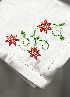 Homewear Poinsettia Scroll Embroidered Hemstitch Chirstmas Napkins - Set Of 4