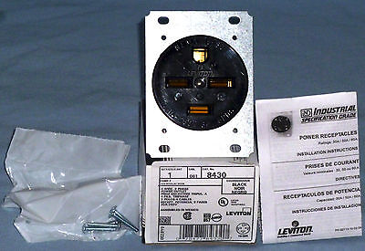 *NEW* Leviton 8430 30 Amp, 250 Volt, Flush Mounting Receptacle, Industrial Grade