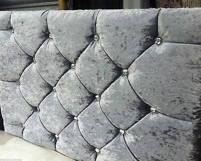 MARKET STYLE Headboard in Crushed Velvet WITH DIAMONDS Great Quality Cheapest