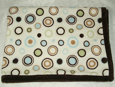 Carters Off White Brown Blue Tan Green Circles Baby Blanket Spots Carter's