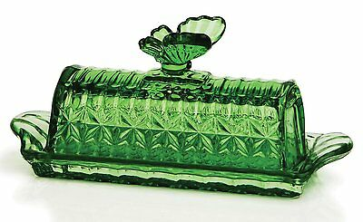 Circleware Light Green Glass Butterfly Butter Dish, 8.25x3.25, Glassware NEW