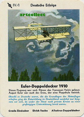 Single Vintage German Game Card: Euler-Doppeldecker 1910