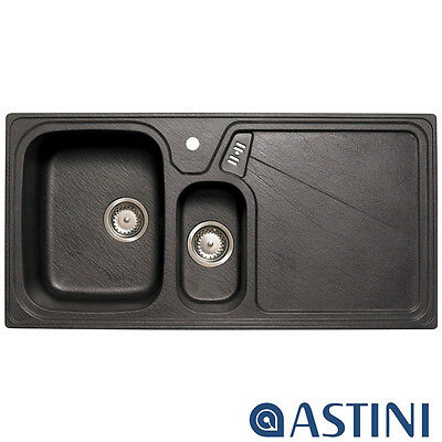 Astini Vitale 1.5 Bowl Granite Black Kitchen Sink & Waste RHD LU15RZUTMISKR