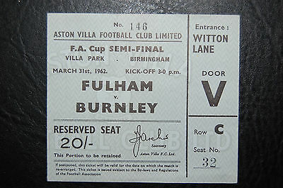 Ticket 1962 Fa Cup Semi/final  Fulham V Burnley