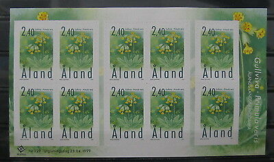 A215 Aland Islands 1999 Primula Veris Flowers Scott 108 Sheet Mnh**