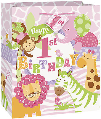 Gift Bag 1st Birthday Party Girls Safari Pink Lion Monkey Elephant Giraffe Zebra