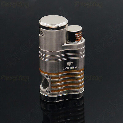 COHIBA Silver & Yellow Strip Metal 4 TORCH JET FLAME CIGAR  LIGHTER With PUNCH
