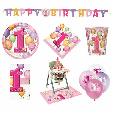 43 Item Set 1st Birthday Party Girls Swirly One Pink Tableware & Decorations