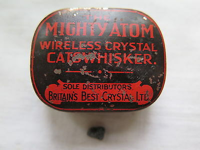 MIGHTY ATOM WIRELESS CRYSTAL RADIO CATSWHISKER TIN c1930s & SMALL CRYSTAL