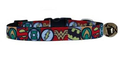 Handmade  Black red Super Hero grosgrain ribbon  safety kitten cat collar bell
