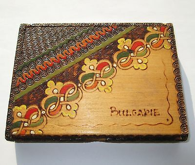 Antique Hand Made Wooden Cigarette Case Holder Pyrography Painted Poker Work