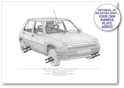 Renault Five Campus 1990 A5 print