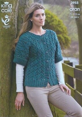 KNITTING PATTERN Ladies/Childrens Short Sleeve Cable Jacket Aran King Cole 3955