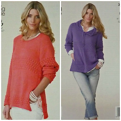 KNITTING PATTERN Ladies Long Sleeve Round Neck Jumper with Side Buttons DK 3954