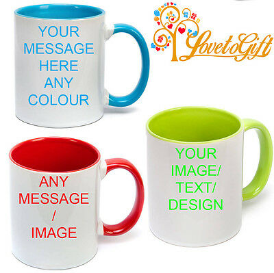 Personalised Coloured Inside Handle Mug Your Photo Text Design Custom Mug Gift