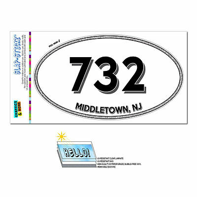 Area Code Oval Window Laminated Sticker 732 New Jersey NJ Middletown - Zarephath