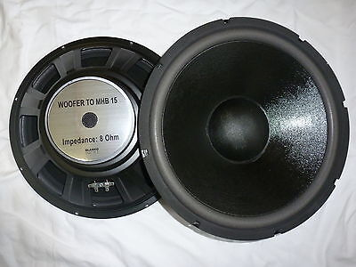"2x MHB-15 38cm 15"" Bass Speaker PA Hifi 380mm Woofer Pair"