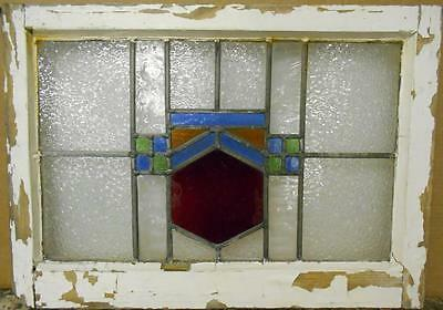 "MID SIZED OLD ENGLISH LEADED STAINED GLASS WINDOW Nice Geometric 24.5"" x 17.5"""
