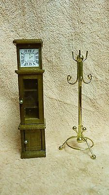 Dollhouse Miniatures Wooden Grandfather Clock + Gold Tone Metal Coat Rack #32
