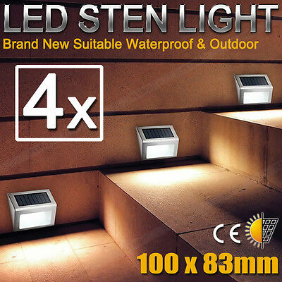 4X Outdoor Solar Powered LED  Garden Stair Step Light Stainless Wall Pathway