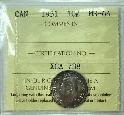 1951 Canadian Ten Cent Coin ICCS Graded MS-64