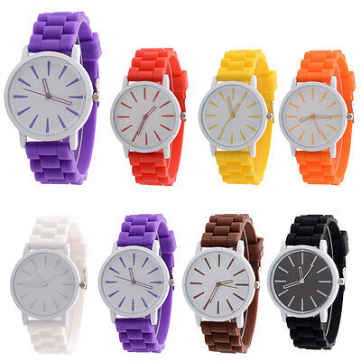 Silicone Rubber Quartz Analog Watches Fashion Sports Womens Wrist Watch Mens