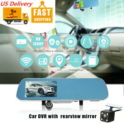 "Android Smart GPS Navigation 5"" HD Car Rearview Mirror DVR Dual Lens Camera O6RO"
