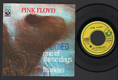"""7"""" Pink Floyd One Of These Days / Fearless Italy 1972 Harvest """"idoneo"""" Stamp"""