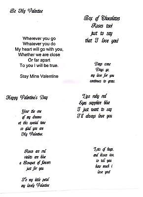 10 X PRE PRINTED VALENTINE CARD INSERTS A4 To Fit A5 Cards Free 1st Class
