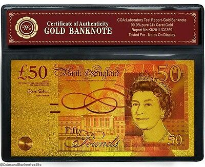 24 Carat Gold Plated Colourised £50 Pound Uk Banknote Bill Note (9)