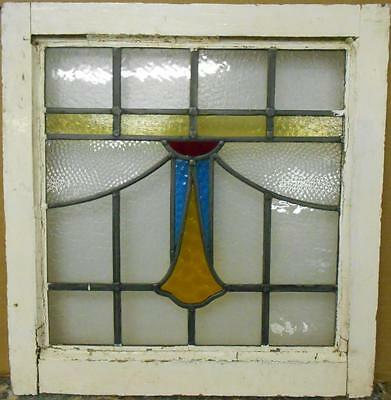 "OLD ENGLISH LEADED STAINED GLASS WINDOW Pretty Geometric Drop 19.25"" x 20"""