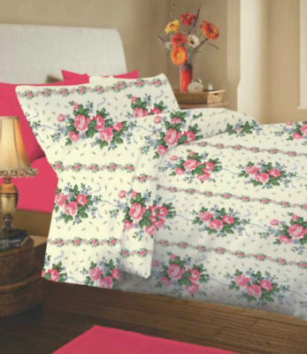 Classic Bold Pretty Floral Cotton Warm Thermal Flannelette Sheet Set- Lucinda