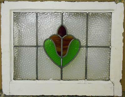 "MID SIZED OLD ENGLISH LEADED STAINED GLASS WINDOW Abstract Floral 22.5"" x 17.75"""