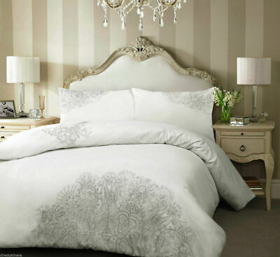 Luxury Embroidered Duvet Cover Set Including Pillow Cases Free UK Delivery
