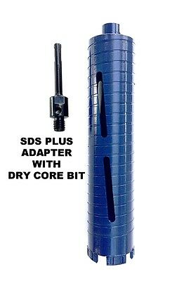 "COMBO: 1 1/4"" Dry Diamond Core Drill Bit for Concrete with SDS Plus Adapter"