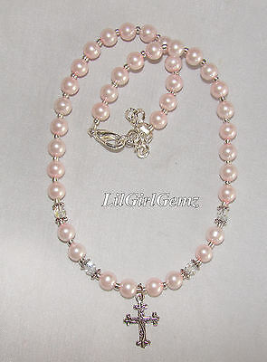 girls baby christening cross religious pink pearl necklace custom boutique new