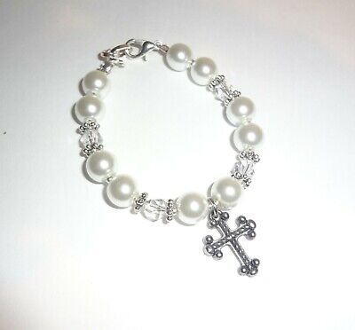 girls pearl white christening cross baby bracelet child communion boutique gift