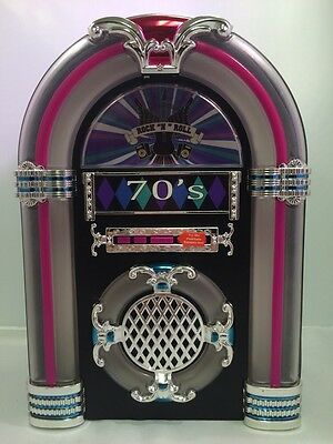"""• Rock """"N"""" Roll Tabletop Lighted Musical Jukebox Plays 3 Songs From The 70's NEW"""