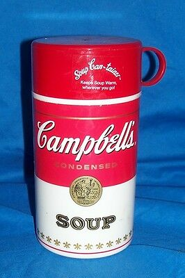Campbell's Condensed Soup Can-Tainer Thermos Lunchbox Plastic Lunch Box Pail Old