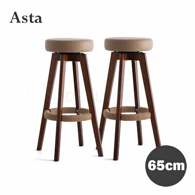 "2 x ""Asta"" Wooden Swivel Bar Stool Kitchen Dining Chairs PU Leather"