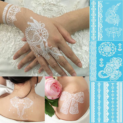 1X White Henna Ink Lace Flower Temporary Flash Tattoo Inspired Sticker Body Art