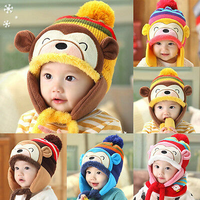 Winter Crochet Beanie Baby Kids Warm Monkey Hat Hooded Earflap Knitted Wool Cap