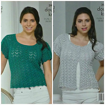 KNITTING PATTERN Ladies Short Sleeve Lacy Cardigan DK King Cole 3943