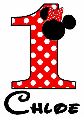 Age Birthday Personalised Iron On Transfer Any Colour Any Number Minnie Themed