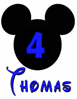 Mickey Mouse Birthday Personalised Iron On Transfer Create A T Shirt For Xmas