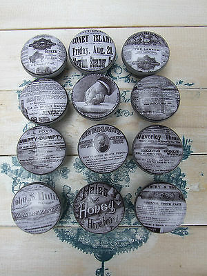 Vintage Adverts 'shabby Chic' Style Grey Decoupage Knobs For Cupboards/ Drawers